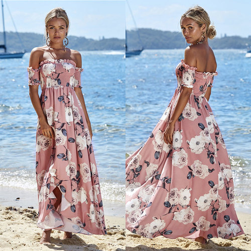 Plus Size Fashion Ladies Off Shoulder Short Sleeve Boho Dress Women Party Long Maxi Dress,