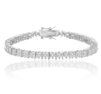 "14K White Gold Plated Swarovski Elements 3mm 7"" Tennis Bracelet with Secure Lock"