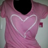 Traced Heart Novelty Pink Tee-Pink/white traced Heart