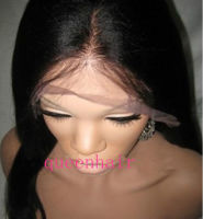 Glueless Full Lace/Lace Front Wigs yaki straight Human Hair baby hair around