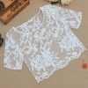 Stylish Ladies Women Sexy Short Sleeve See-through Organza Floral Casual Crop Tops -white-med