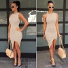 Solid Slim Bodycon Split Casual Dress-Lg
