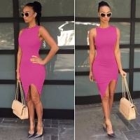 Solid Slim Bodycon Split Casual Dress-Med