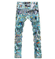 Paris Fashion Mid Waist Men Slim Printed Jeans