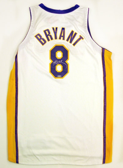 77632d87e4c Kobe Bryant Autographed Upper Deck Lakers White Sunday Jersey Limited  Edition