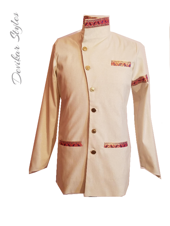 Golden Nehru Collard Jacket