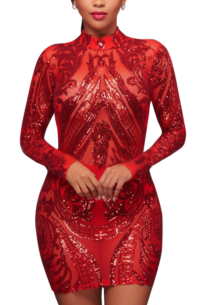 Buy Plus Size Sequined Mesh Sexy Long Sleeves High Quality Club