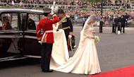 In this image taken from video, Kate Middleton arrives at Westminster Abbey for the Royal Wedding in London on Friday, April, 29, 2011. (AP Photo/APTN) EDITORIAL USE ONLY NO ARCHIVE PHOTO TO BE USED SOLELY TO ILLUSTRATE NEWS REPORTING OR COMMENTARY ON THE FACTS OR EVENTS DEPICTED IN THIS IMAGE