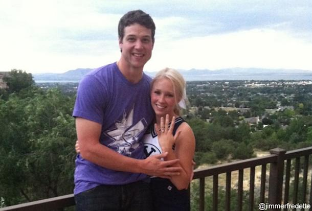 Jimmer Fredette surprises his girlfriend with an engagement ring