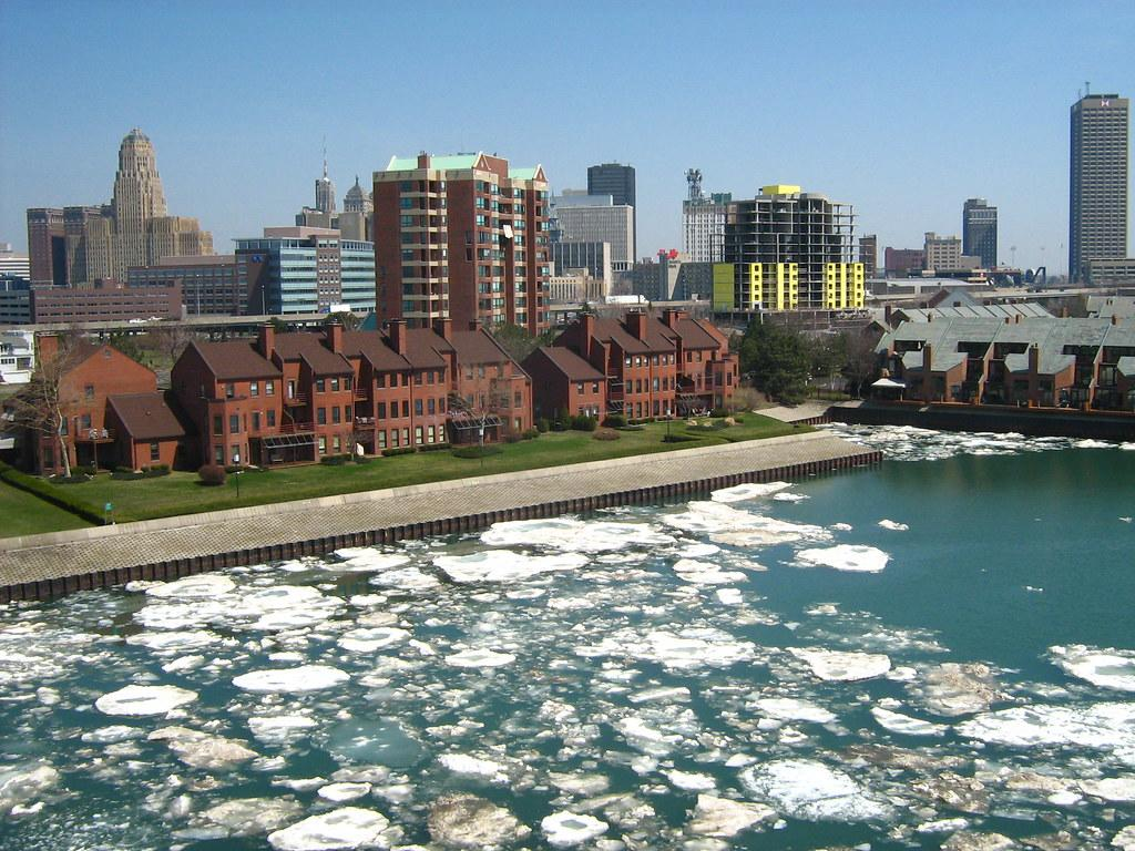 Downtown Buffalo Skyline -  ice donuts