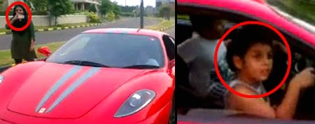 Indian kid drives Ferrari
