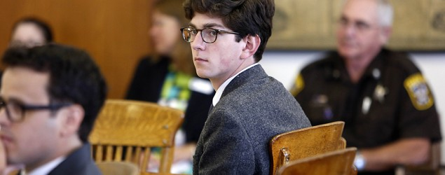 Owen Labrie looks around the courtroom during his trial in Merrimack County Superior Court. (Jim Cole/AP)