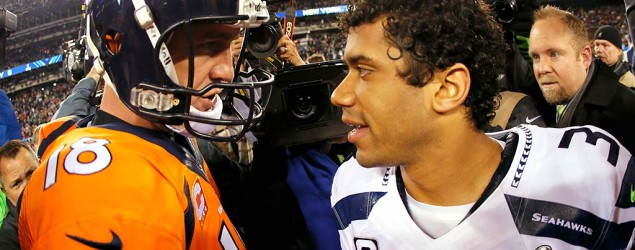 Peyton Manning, Russell Wilson meet in Super Bowl rematch. (Getty Images)