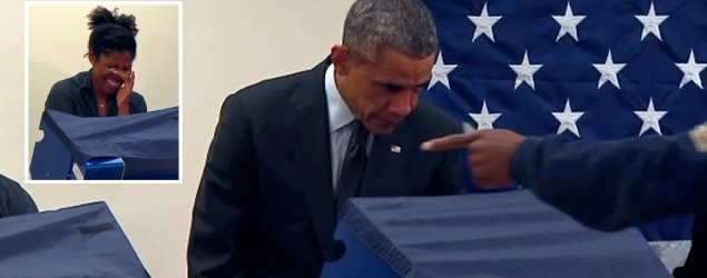 Aia Cooper is embarrassed by her boyfriend's remark to President Barack Obama at the voting booth. (GMA)