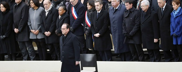 French President Francois Hollande honors the victims of the Paris attacks at the Invalides national monument. (AP)