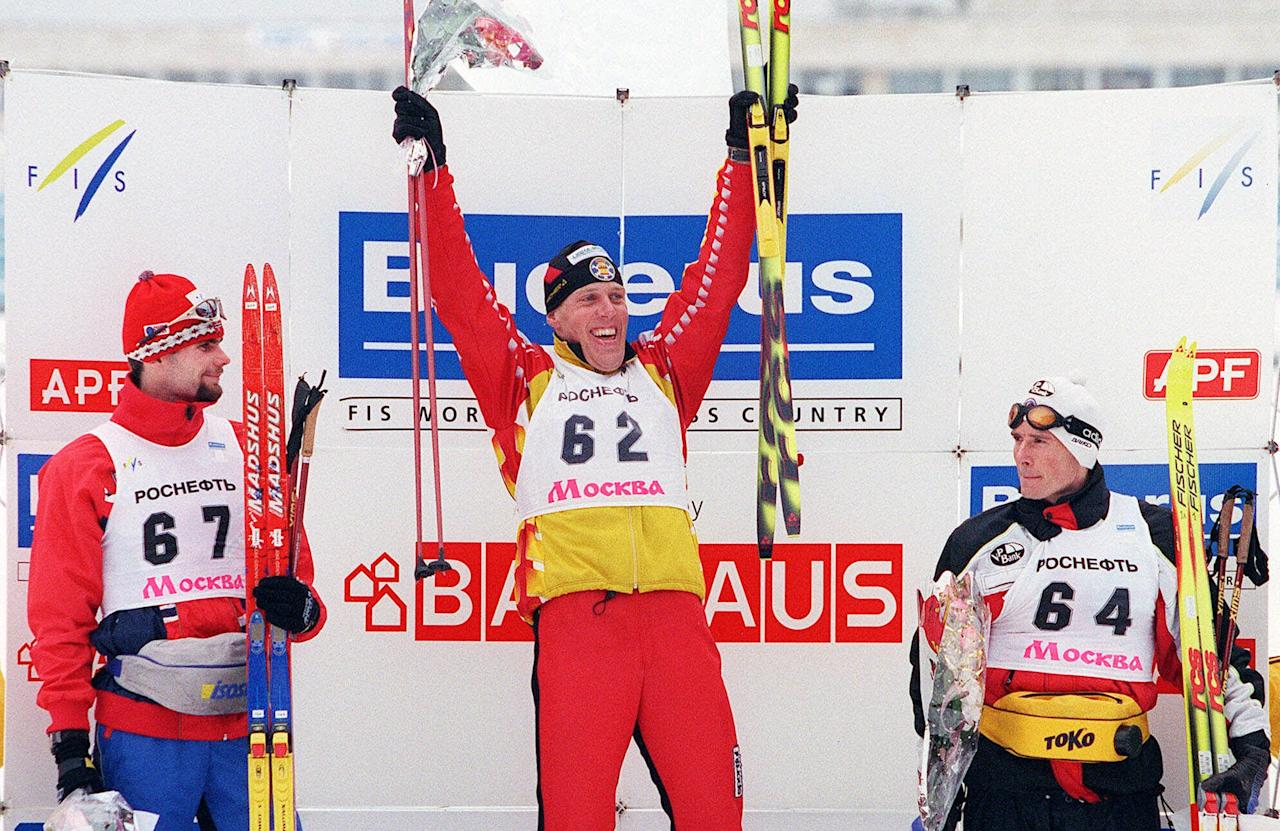 Spanish cross-country skier Johann Mühlegg wasn't smiling after testing positive for a banned stimulant at the 2002 Salt Lake City Games, which resulted in his disqualification and the forfeiture of gold medals in the 50-kilometer individual race, 30-kilometer freestyle and 20-kilometer pursuit. (AP Photo/Maxim Marmur)
