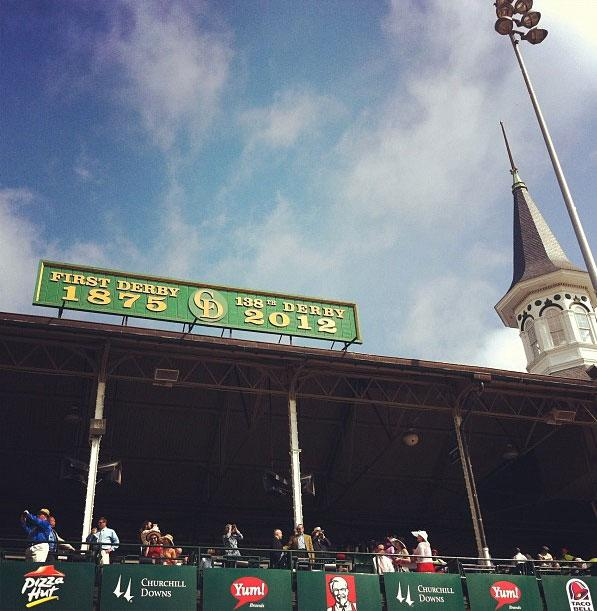 The spire at the 138th Kentucky Derby horse race at Churchill Downs Saturday, May 5, 2012, in Louisville, Ky.