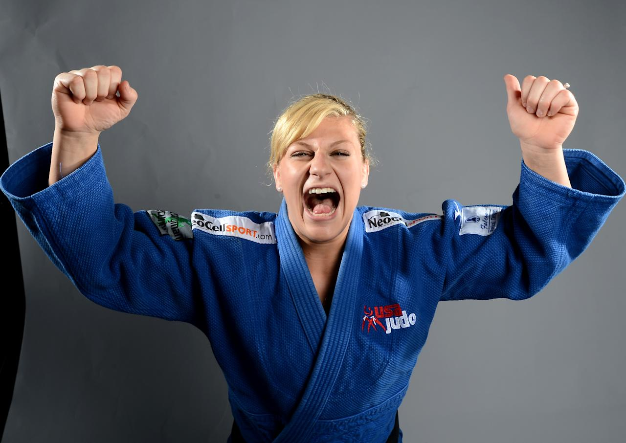 Kayla Harrison of the US Judo Olympic team  poses for pictures during the 2012 Team USA Media Summit on May 13, 2012 in Dallas,Texas.AFP PHOTO/JOE KLAMARJOE KLAMAR/AFP/GettyImages