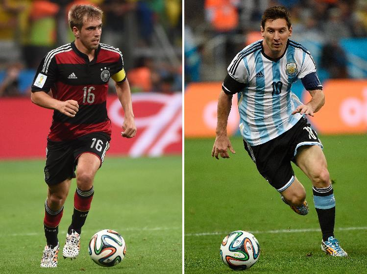 A combination of file photos shows Germany's defender and captain Philipp Lahm (L) in Belo Horizonte on July 8, 2014 and Argentina's forward and captain Lionel Messi in Sao Paulo on July 9, 2014