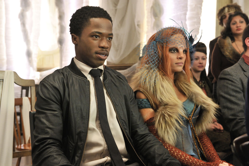 """Dewshane Williams as Tommy LaSalle and Stephanie Leonidas as Irisa in the """"Defiance"""" epsiode, """"The Bride Wore Black."""""""