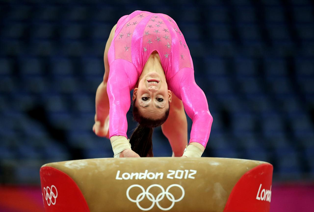 LONDON, ENGLAND - JULY 26:  Jordyn Wieber of United States on the Vault during training sessions for Artistic Gymnastics ahead of the 2012 Olympic Games at Greenwich Training Academy on July 26, 2012 in London, England.  (Photo by Christian Petersen/Getty Images)