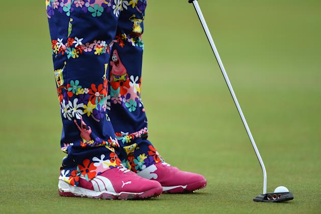 HOYLAKE, ENGLAND - JULY 16: Detail of John Daly of the United States' outfit during a practice round prior to the start of The 143rd Open Championship at Royal Liverpool on July 16, 2014 in Hoylake, England. (Photo by Stuart Franklin/Getty Images)