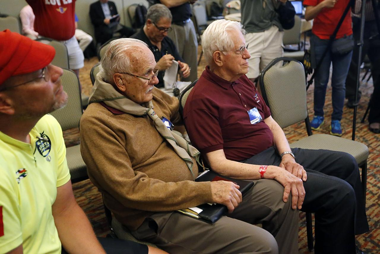 GRAPEVINE, TX - MAY 23:  Dave Rice (L), 84, of Petaluma, California and Dave Knapp (R), 86, of Guilford, Connecticut listen at a news conference announcing that the Boy Scouts would permit openly gay youths to particpate in scout activities, at the Great Wolf Lodge May 23, 2013  in Grapevine, Texas. The Scouts left intact its ban on gay adults and leaders. Knapp was removed in 1993 for being openly gay while Rice was removed in 1998 or supporting gay rights issues.  (Photo by Stewart F. House/Getty Images)