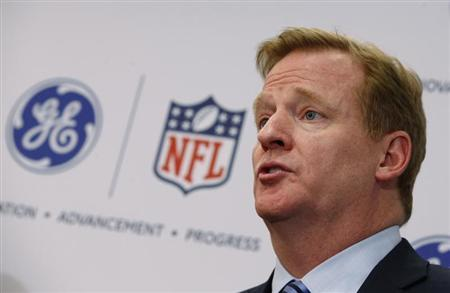 Roger Goodell, Commissioner of the NFL, speaks at a news conference announcing the Head Health Initiative, a collaboration between GE and the NFL, in New York