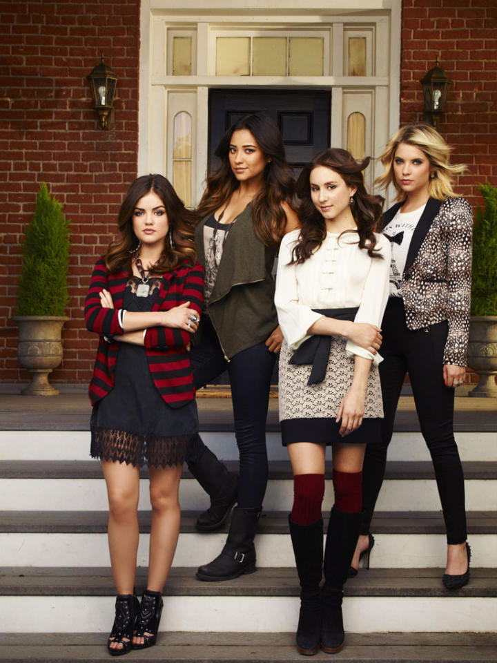"""ABC Family's """"Pretty Little Liars"""" stars Lucy Hale as Aria Montgomery, Shay Mitchell as Emily Fields, Troian Bellisario as Spencer Hastings and Ashley Benson as Hanna Marin."""