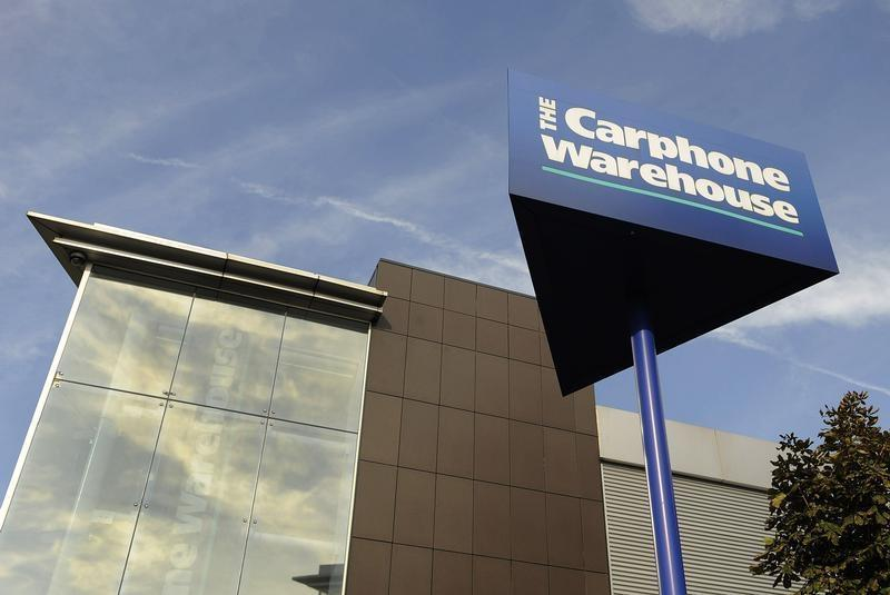 Signage is seen on the outside of Carphone Warehouse offices in west London
