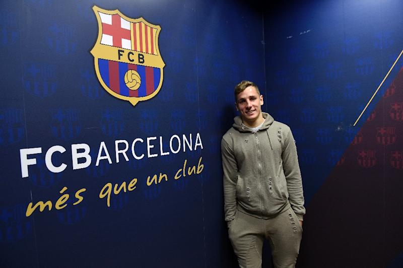 Barcelona's defender Lucas Digne poses during an AFP interview