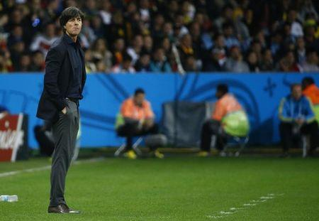 Germany's coach Joachim Loew watches as his team plays against Algeria during their 2014 World Cup round of 16 game at the Beira Rio stadium in Porto Alegre
