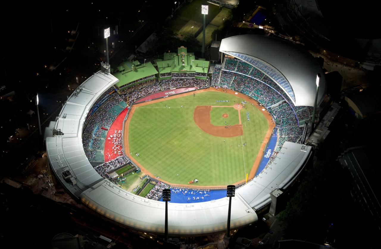 The Sydney Cricket Ground can be seen from above before the start of the opening game of the 2014 Major League Baseball season between the Arizona Diamondbacks and Los Angeles Dodgers March 22, 2014. REUTERS/Destination New South Wales/James Morgan (AUSTRALIA - Tags: SPORT BASEBALL) 