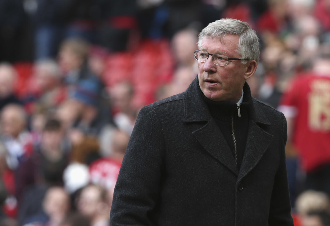 MANCHESTER, ENGLAND - MAY 05:  Manager Sir Alex Ferguson of Manchester United walks off after the Barclays Premier League match between Manchester United and Chelsea at Old Trafford on May 5, 2013 in Manchester, England.  (Photo by John Peters/Man Utd via Getty Images)
