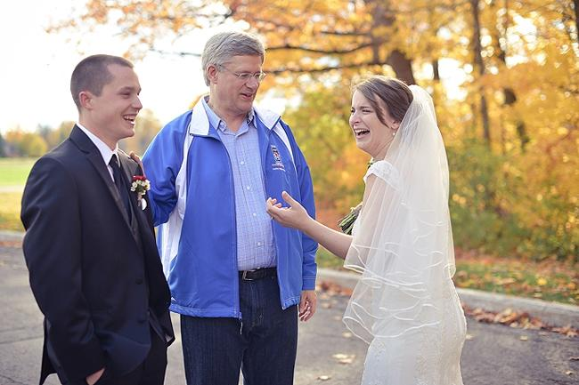 "Prime Minister Stephen Harper took a queue from <a target=""_blank"" href=""http://us.lrd.yahoo.com/_ylt=AtOT2Ie3Z9WtJZdubw3RnKGTssB_;_ylu=X3oDMTFpNGh2cjBkBG1pdANCbG9nIFBvc3QgQm9keQRwb3MDMQRzZWMDTWVkaWFCbG9nQm9keUFzc2VtYmx5;_ylg=X3oDMTMyMXN1dG41BGludGwDY2EEbGFuZwNlbi1jYQRwc3RhaWQDOGNmNzcyYmUtYjViNS0zNDZlLThiZTMtOWNmNGZjZWY5MTI4BHBzdGNhdANibG9nc3xkYWlseWJyZXcEcHQDc3RvcnlwYWdl;_ylv=0/SIG=140t4lm90/EXP=1355783540/**http%3A//ca.news.yahoo.com/blogs/good-news/u-president-barack-obama-crashes-iowa-wedding-leaves-145755122.html"">President Obama's playbook</a> and <a href=""http://www.thestar.com/news/gta/article/1276340--prime-minister-stephen-harper-crashes-ottawa-wedding"" target=""_blank"">crashed an Ottawa wedding party's photo session</a>. Photographer Laura Kelly quickly explains what was so funny in our favourite of the viral photos.<br><br>""Best part of the this whole interaction: <br>Harper: 'So, have you already done it?' <br>Pat (the groom): 'Nope, first time!'""<br><br>""<span style=""font-family:Verdana, sans-serif;"">Lol, Pat thought he was  asking whether either of them had ever been married before, when really  he was just asking if they had already had their wedding ceremony!</span><span style=""font-family:Verdana, sans-serif;""> Maybe you had to be there, it was hilarious.</span>"" (Photo courtesy of <a target=""_blank"" href=""http://www.laurakellyblog.ca/2012/10/62-see-celebrity.html"">Laura Kelly</a>)"