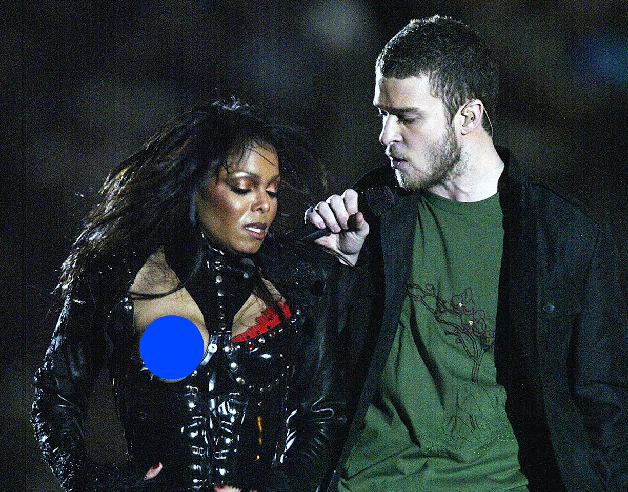 Janet Jackson and Justin Timberlake had a lot of explaining to do after Jackson's 2004 Super Bowl halftime wardrobe malfunction. For those who don't remember this one: Timberlake tore off part of Jackson's clothing during their performance, briefly exposing her breast . Jackson apologized to those who were offended and said it was not her intention for the costume reveal to go as far as it did. Eight years later, the indecency fine is still brewing in the courts.