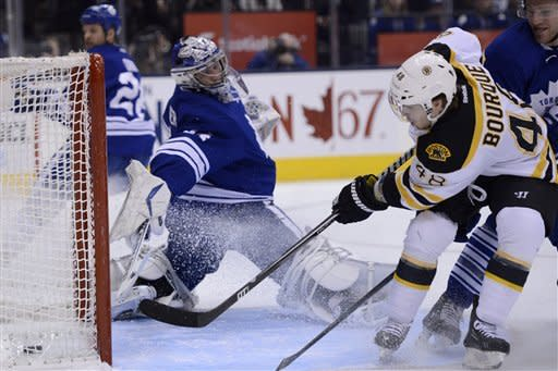 Bourque scores lone goal in Bruins' win over Leafs