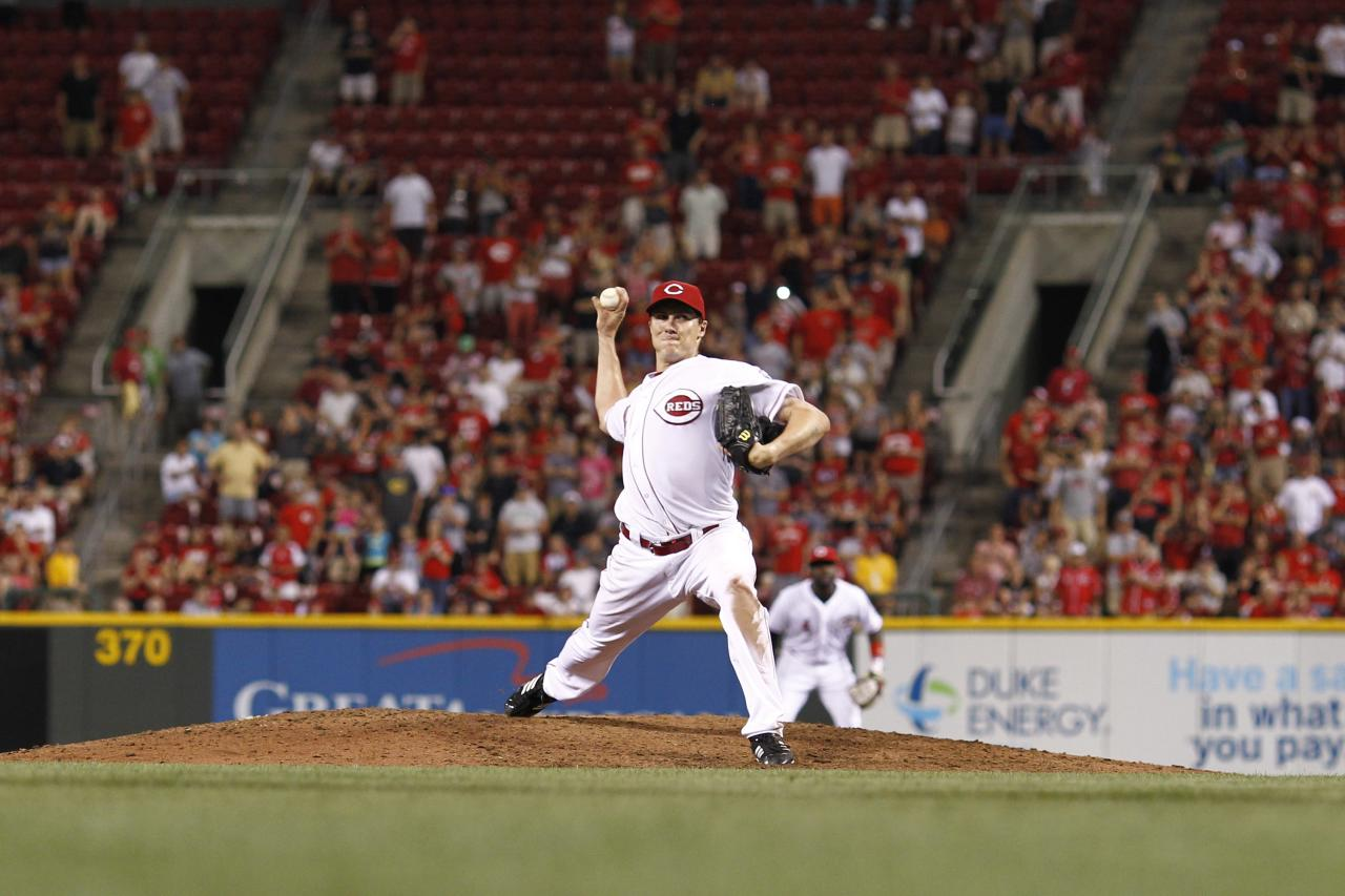 CINCINNATI, OH - JULY 2: Homer Bailey #34 of the Cincinnati Reds pitches the ninth inning on his way to throwing a no-hitter against the San Francisco Giants at Great American Ball Park on July 2, 2013 in Cincinnati, Ohio. The Reds won 3-0. (Photo by Joe Robbins/Getty Images)