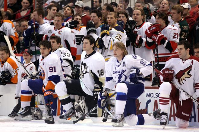 OTTAWA, ON - JANUARY 28:  (L-R) John Tavares #91 of the New York Islanders, James Neal #18 of the Pittsburgh Penguins and Steven Stamkos #91 of the Tampa Bay Lightning and team Alfredsson kneel on the ice during the 2012 Molson Canadian NHL All-Star Skills Competition at Scotiabank Place on January 28, 2012 in Ottawa, Ontario, Canada.  (Photo by Christian Petersen/Getty Images)