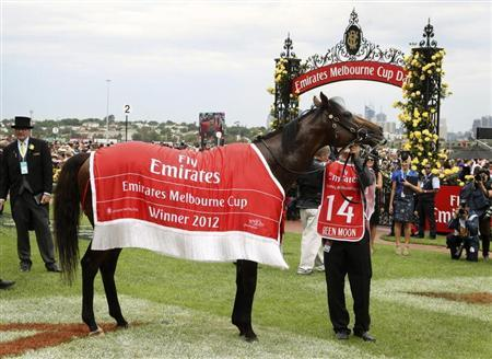 Green Moon is led around the yard after winning the Melbourne Cup at the Flemington race course
