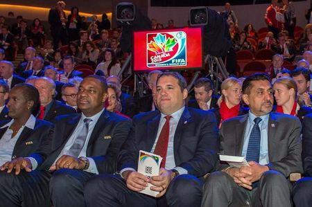 Dec 6, 2014; Gatineau, Quebec, Canada; Members of FIFA and the National Organizing Committee (NOC) including Victor Montagliani the chairman of the NOC and CSA President (centre) attend the official draw for the FIFA Women's World Cup Canada 2015 at The Canadian Museum of History. Mandatory Credit: Marc DesRosiers-USA TODAY Sports/Files