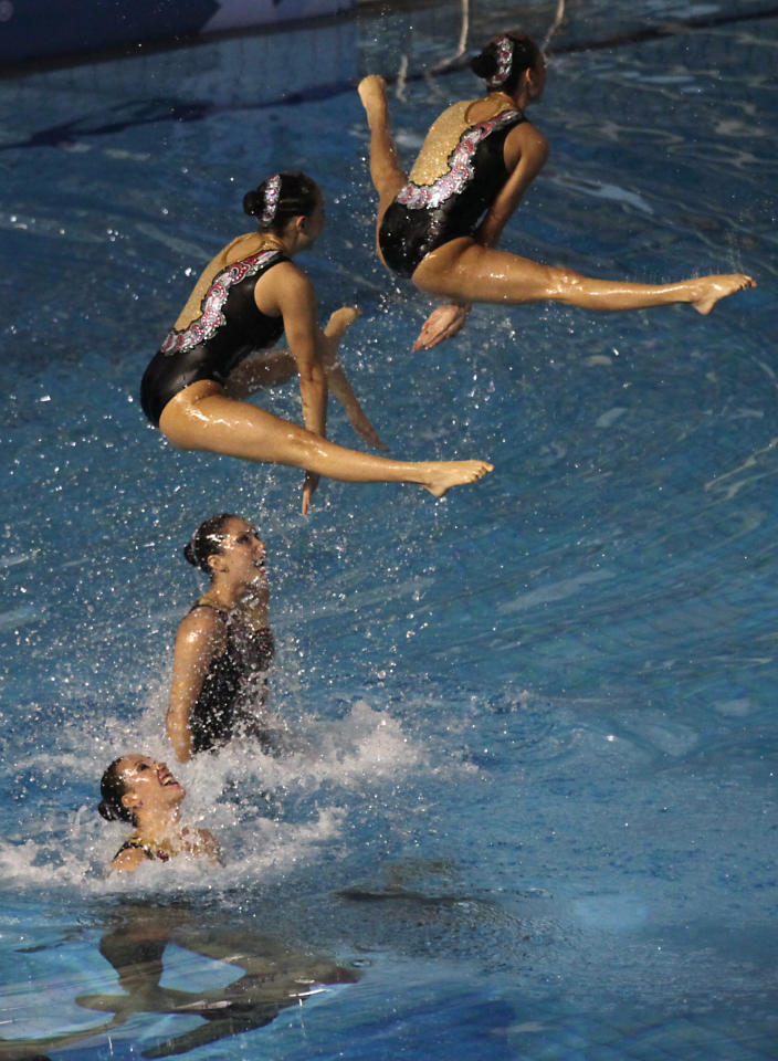 Mexico's team competes in the synchronized swimming technical routine preliminary at the Pan American Games in Guadalajara, Mexico, Wednesday, Oct. 19, 2011. (AP Photo/Silvia Izquierdo)