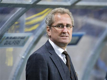 Sweden's coach Hamren is pictured before his team's 2014 World Cup qualifying soccer match against Germany in Stockholm