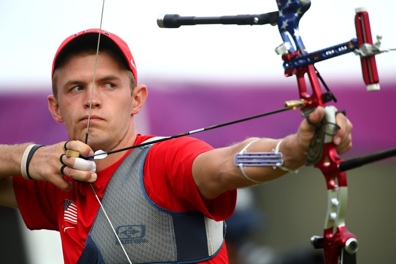 LONDON, ENGLAND - JULY 27: Jacob Wukie of the United States prepares to arch during the Archery Ranking Round on Olympics Opening Day as part of the London 2012 Olympic Games at the Lord's Cricket Ground on July 27, 2012 in London, England.  (Photo by Paul Gilham/Getty Images)