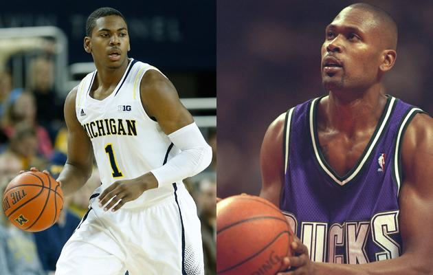 Glenn Robinson, Jr. and his son Glenn Robinson III share their name and a love of basketball.  Glenn Robinson, Jr. played for NBA teams including the Milwaukee Bucks, Atlanta Hawks, Philadelphia 76ers and San Antonio Spurs.  His son is a freshman playing in March Madness for the Michigan Wolverines.