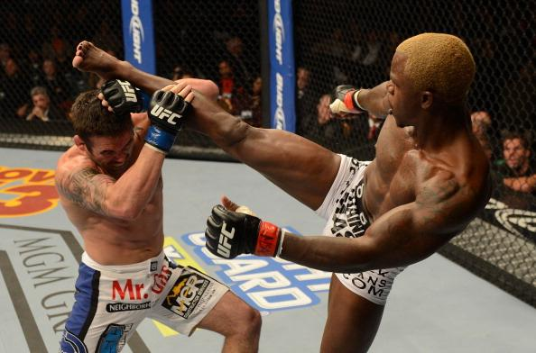 LAS VEGAS, NV - DECEMBER 29: (R-L) Melvin Guillard versus Jamie Varner during their lightweight fight at UFC 155 on December 29, 2012 at MGM Grand Garden Arena in Las Vegas, Nevada. (Photo by Donald Miralle/Zuffa LLC/Zuffa LLC via Getty Images)