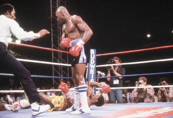 Marvelous Marvin Hagler KO3 Thomas Hearns, April 15, 1985 – Regarded by many as the best short fight in boxing history, Hagler was too powerful for Hearns and proved it in this all-out slugfest. Hagler was cut in the third and knew he'd have to do something dramatic. Hagler landed a right hook to the head that staggered Hearns. Hagler literally ran across the ring after Hearns and cracked Hearns with a right. Hearns fell face first as Hagler celebrated a hard-fought win.