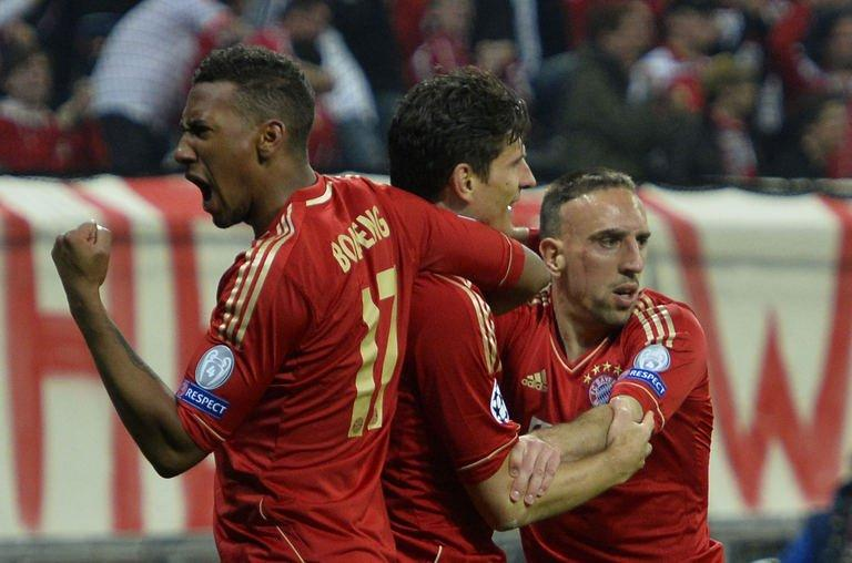 Bayern Munich players celebrate after scoring a second goal during their Champions League semi final first leg match against Barcelona at the Allianz Arena in Munich, on April 23, 2013