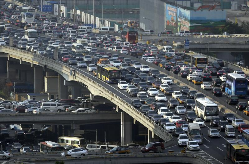 Lines of cars are pictured during a rush hour traffic jam on Guomao Bridge in Beijing