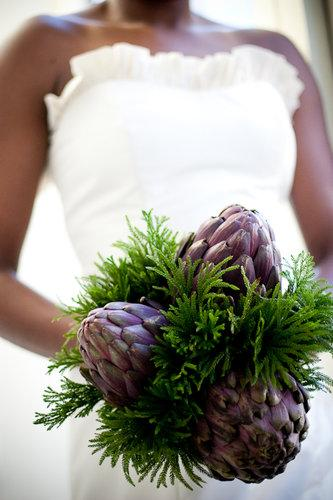 Purple artichokes and ferns are a wonderful alternative to floral bouquets. Photo by Documentary Associates via Elegance and Simplicity